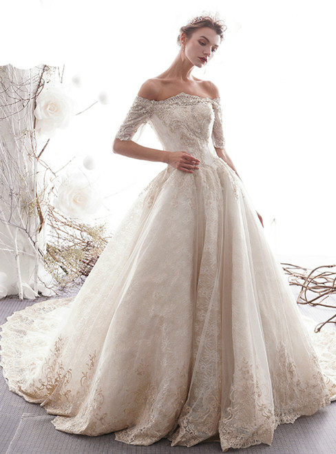 Champagne Tulle Lace Off the Shoulder Short Sleeve Wedding Dress Beading