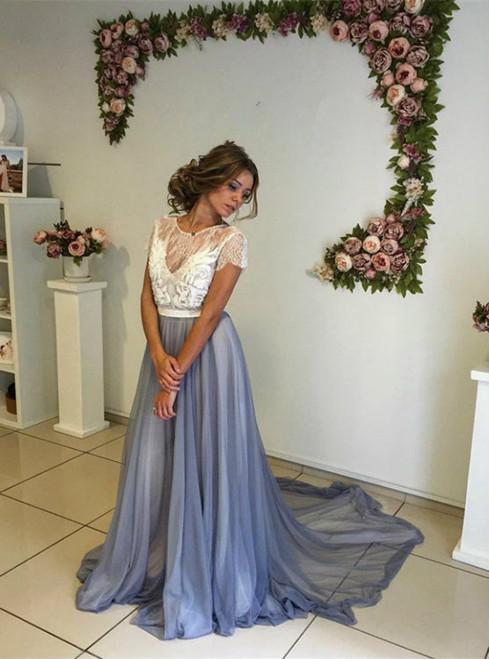 Prom Dresses Modern Short Sleeve Lace 2017 Evening Dress A-line Sweep Train