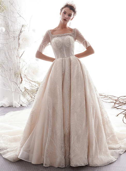Champagne Ball Gown Tulle Sequins Square Short Sleeve Wedding Dress With Train