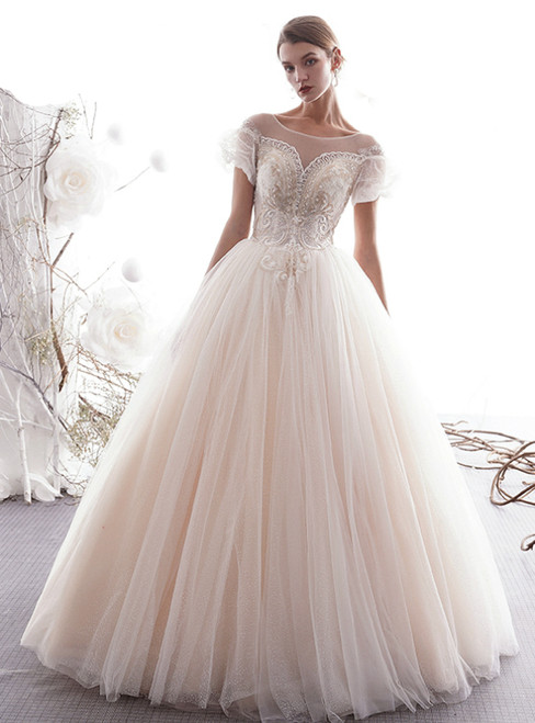 Light Champagne Tulle Puff Sleeve Backless Long Wedding Dress