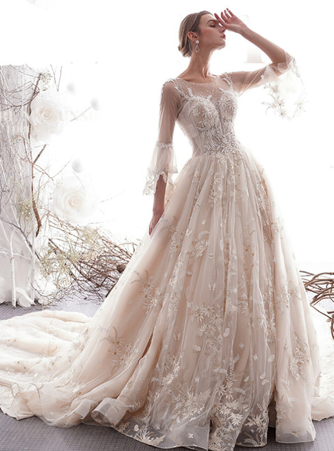 Champagne Ball Gown Tulle Appliques 3/4 Sleeve Wedding Dress With Long Train