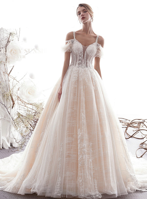 Champagne Ball Gown Tulle Spaghetti Straps Tulle Lace Appliques Wedding Dress
