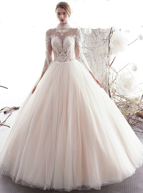 Champagne Ball Gown Tulle High Neck Appliques Long Sleeve Wedding Dress