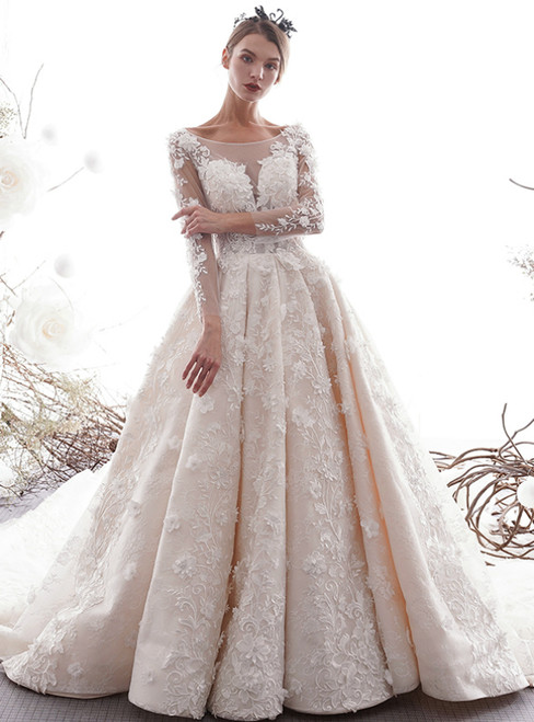 Stunning Bateau Long Sleeve Appliques Backless Champagne Wedding Dress With Long Train