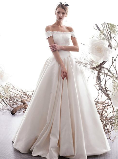 Simple A-Line Champagne Satin Off The Shoulder Wedding Dress