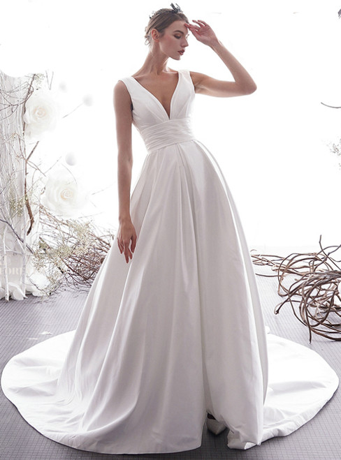 A-Line White Satin Deep V-neck Backless Pleats Wedding Dress