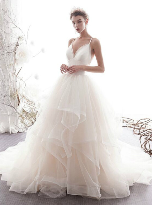 Spaghetti Starps Tulle Backless Light Champagne Wedding Dress With Train
