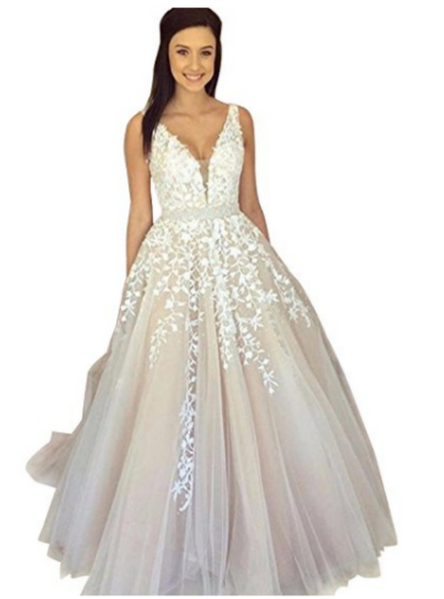 A-Line V-neck Backless Tulle Appliques Floor Length Prom Dress
