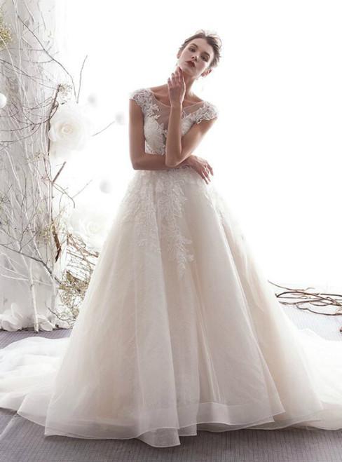 Light Champagne Tulle Bateau Cap Sleeve Appliques Wedding Dress