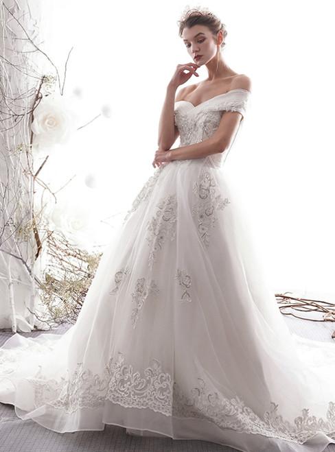 White Tulle Lace Appliques Off The Shoulder Corset Wedding Dress