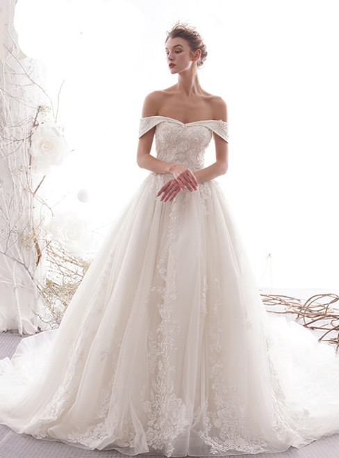 Ball Gown Champagne Tulle Lace Apliques Wedding Princess Dress