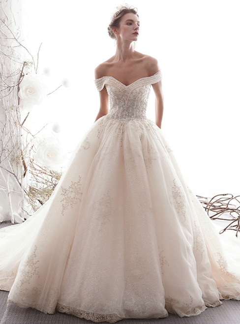 Adorable Champagne Tulle Lace Off The Shoulder Wedding Dress With Beading