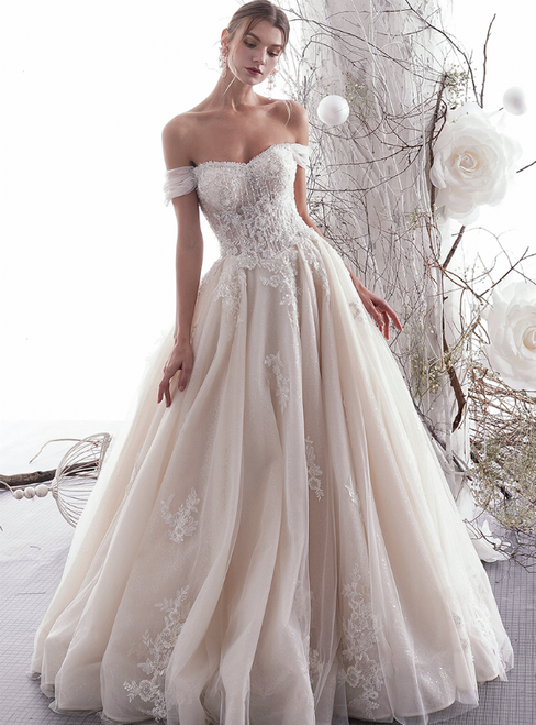 A-Line Champagne Tulle Appliques Off The Shoulder Wedding Dress