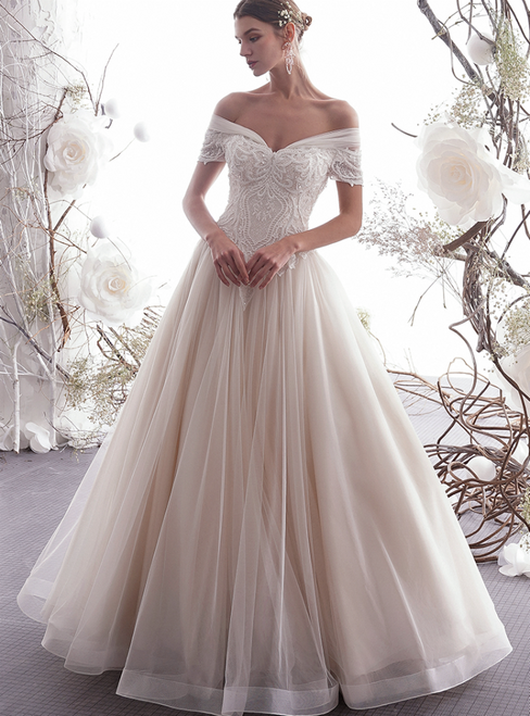 Champagne Tulle Lace Appliuqes Off The Shoulder Floor Length Wedding Dress