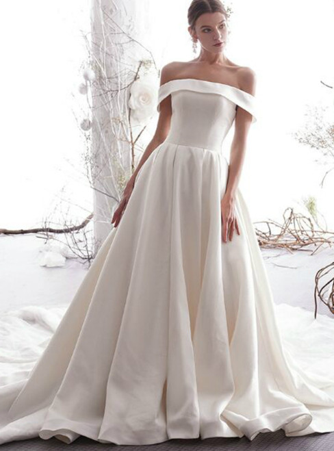 Charming Champagne Satin Tulle Off The Shoulder Wedding Dress