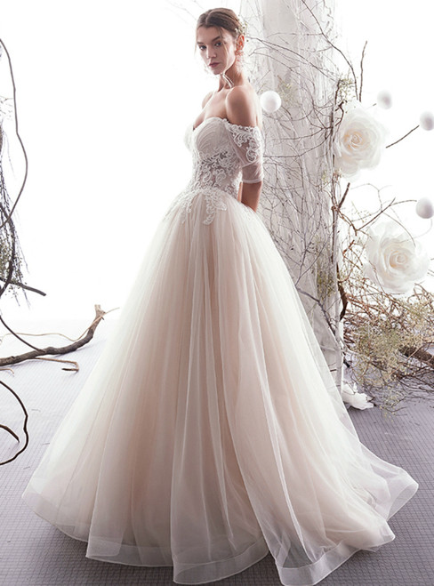 A-Line Champagne Tulle Off The Shoulder Short Sleeve Wedding Dress