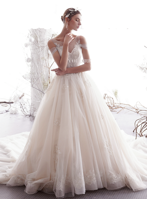 Champagne Ball Gown Tulle Appliques Bateau Backless Wedding Dress