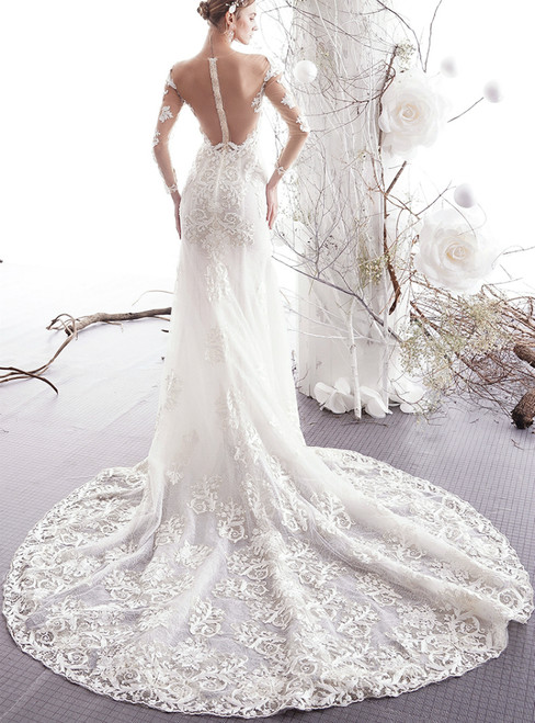 Ivory White Mermaid Lace Long Sleeve See Through Back Wedding Dress