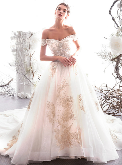 Ball Gown Light Champagne Tulle Appliques Off The Shoulder Wedding Dress