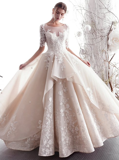 A-Line Champagne Tulle Appliques Sleeve Backless Floor Length Wedding Dress