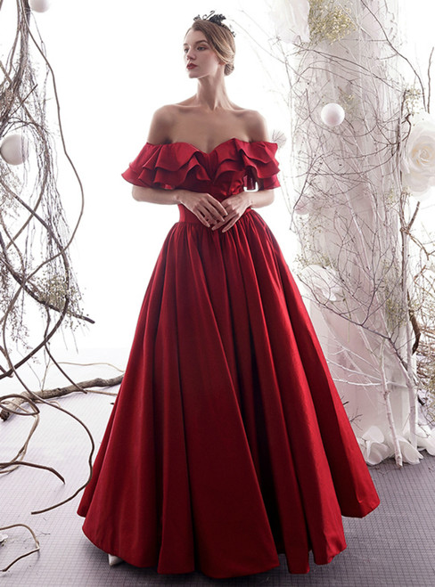 A-Line Burgundy Satin Off The Shoulder Puff Sleeve Prom Dress