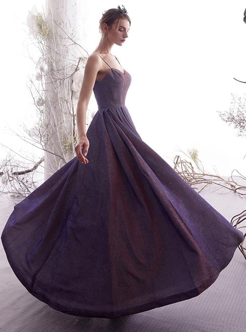 A-Line Blue Spaghetti Straps Backless Long Prom Dress