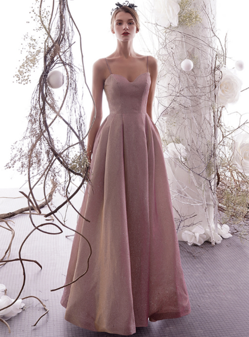 A-Line Gray Pink Spaghetti Straps Backless Long Prom Dress