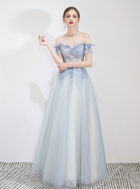 In Stock:Ship in 48 Hours Blue Tulle Appliques Prom Dress