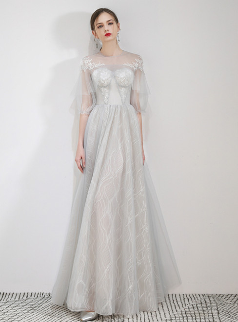 In Stock:Ship in 48 Hours A-Line Gray Tulle Short Sleeve Prom Dress
