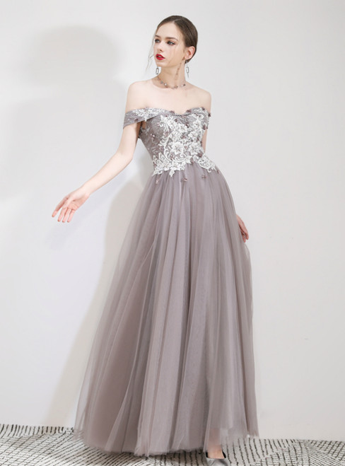 In Stock:Ship in 48 Hours Gray Tulle Appliques Off The Shoulder Prom Dress