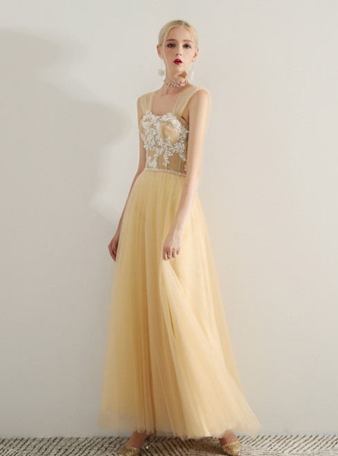 In Stock:Ship in 48 Hours Champagne Tulle Off The Shoulder Prom Dress