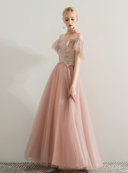 In Stock:Ship in 48 Hours Pink Tulle Off The Shoulder Appliques Prom Dress