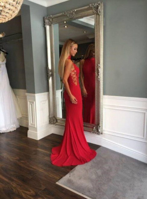 Red Lace up Sheath/Column Stretch Satin Prom Dresses 2017