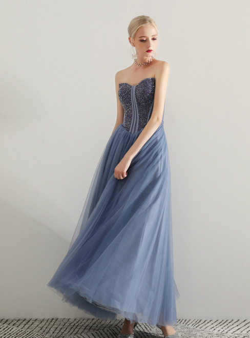In Stock:Ship in 48 Hours Blue Tulle Sweetheart Prom Dress With Beading