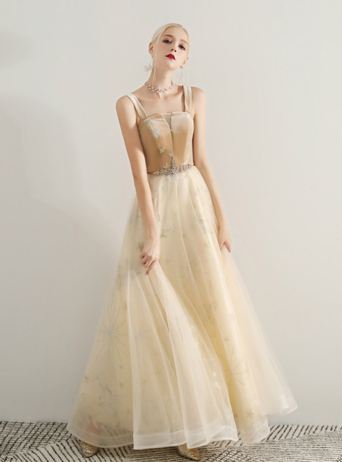 In Stock:Ship in 48 Hours Champagne Tulle Straps Prom Dress