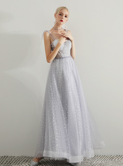 In Stock:Ship in 48 Hours Gray Tulle Spaghetti Straps Prom Dress