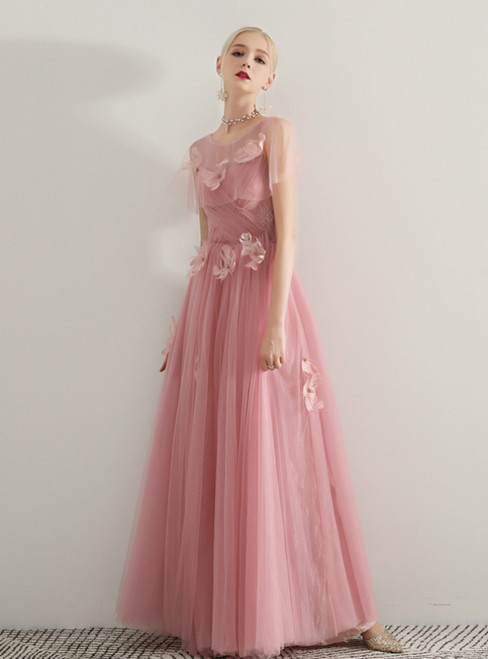 In Stock:Ship in 48 Hours Pink Tulle Appliques Prom Dress