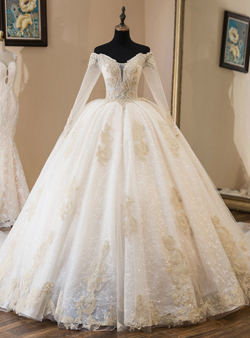 Light Champagne Tulle Off The Shoulder Long Sleeve Wedding Dress With Train