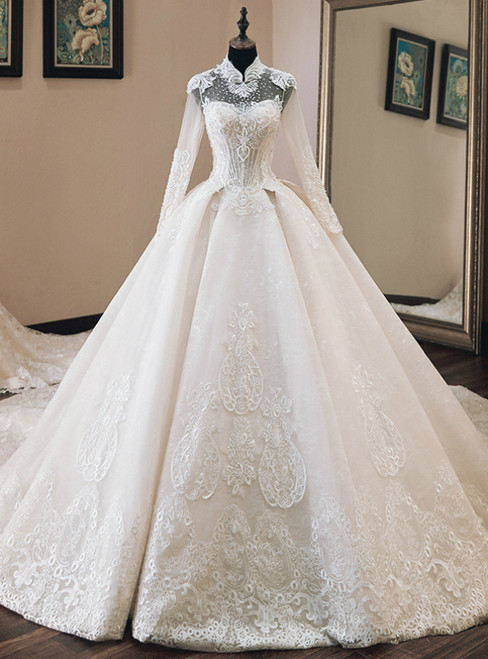 Champagne High Neck Long Sleeve Lace Appliques Beading Wedding Dress