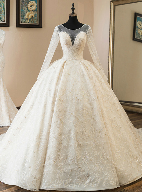 Champagne Tulle Sequins Long Sleeve Backless Wedding Dress With Beading