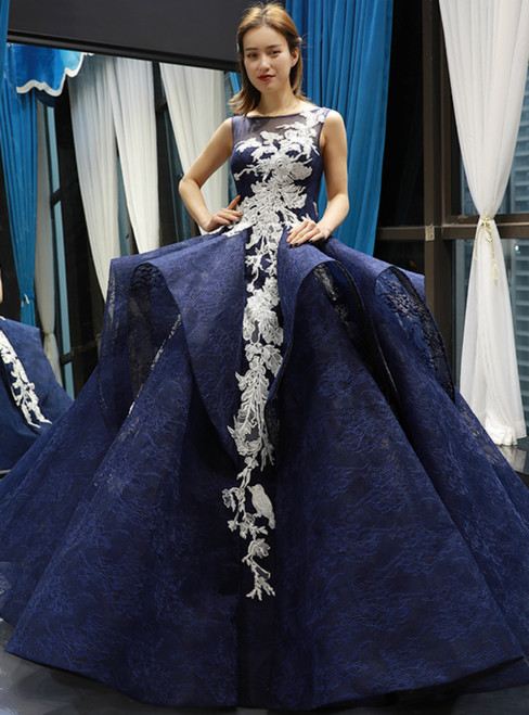 Navy Blue Ball Gown Prom Dress
