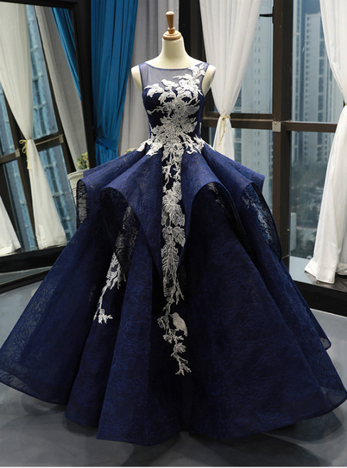 Navy Blue Ball Gown Lace White Lace Appliques Backless Prom Dress