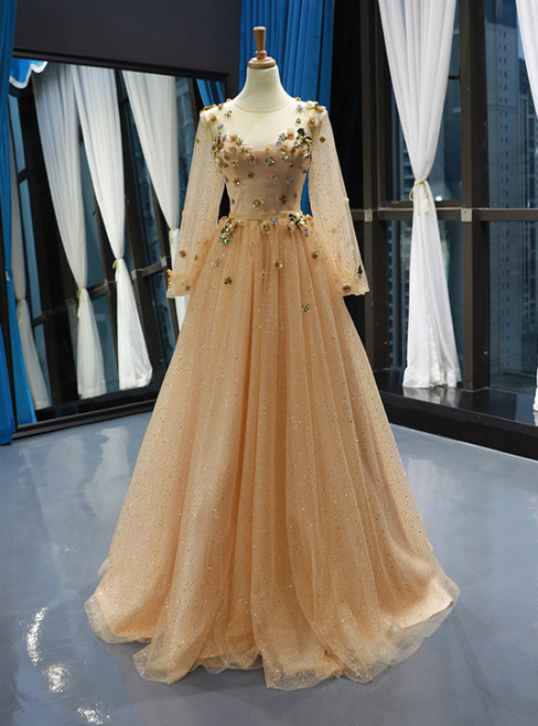 Champagne Gold Tulle Sequins Long Sleeve Appliques Prom Dress