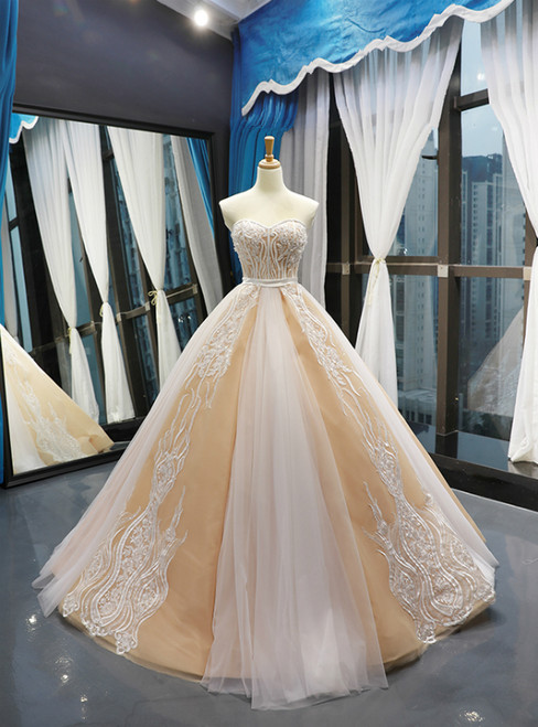 Champagne Tulle Lace Appliques Sweetheart With Beading Prom Dress