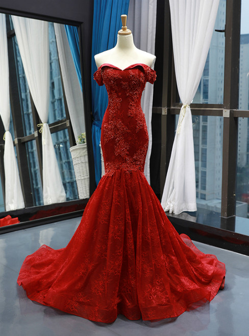 Burgundy Lace Mermaid Off The Shoulder Prom Dress With Pearls