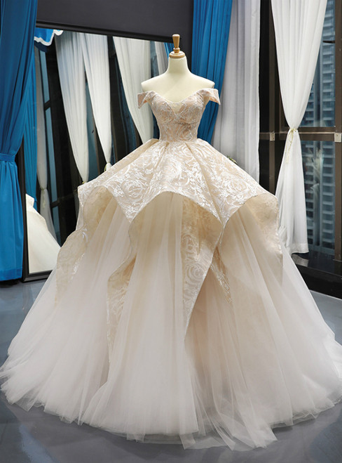 Champagne Ball Gown Tulle Lace Off The Shoulder Prom Dress