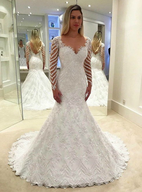 White Mermaid Lace Long Sleeve V-neck Wedding Dress With Beading