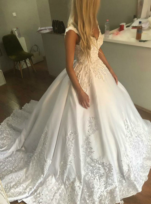Ball Gown V neck Satin Backless Appliques Wedding Dresses