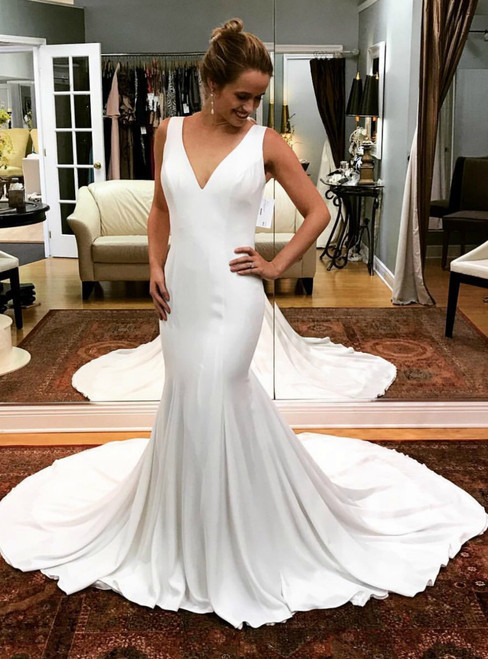 Sexy Mermaid White Satin Deep V-neck Backless Wedding Dress