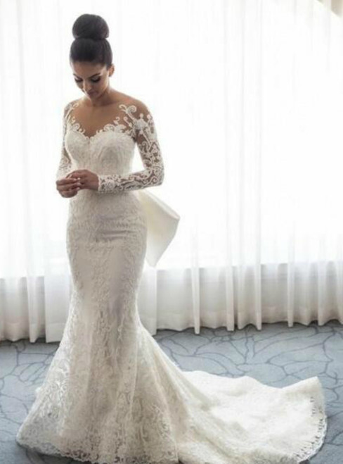 White Mermaid Lace Long Sleeve Wedding Dress With Bow